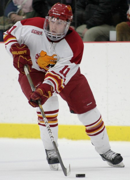Wolverines Crush Bulldogs: Junior forward Jordie Johnston and the Ferris State hockey team took on the University of Michigan on Jan. 14 and 15. The Bulldogs were defeated both nights, bringing the 2010-11 record to 11-10-4. Photo By: Brock Copus   Photographer