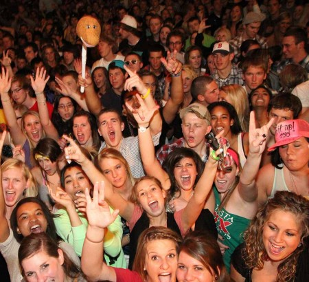 Enjoying Ferris Fest: Ferris students during the 2011 Ferris Fest concert. Ferris students are able to enjoy concerts on campus due to the hard work of many MIMA and EU student members. Photo By: Brock Copus | Photographer