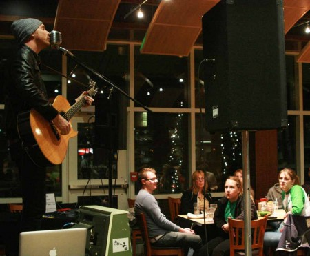 Rock Performance: Preston Pugmire performed for Ferris students in the Rock Cafe on Tuesday, Nov. 8. Pugmire's performance was welcomed by students who sang along during the concert. Photo By: Kate Dupon | Photo Editor