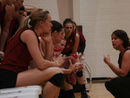 """Winning Coach: FSU head coach, Tia Brandel-Wilhelm was named """"Coach of the Year"""" and was named the school's all time winningest coach with 331 victorys. Photo By: Kate Dupon 