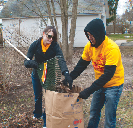 Every spring students gather as part of the Big Event to help with tasks such as cleaning yards and houses. This event is held every spring as a way for Ferris and its students to give back to the community and lend a helping a hand. Torch File Photo