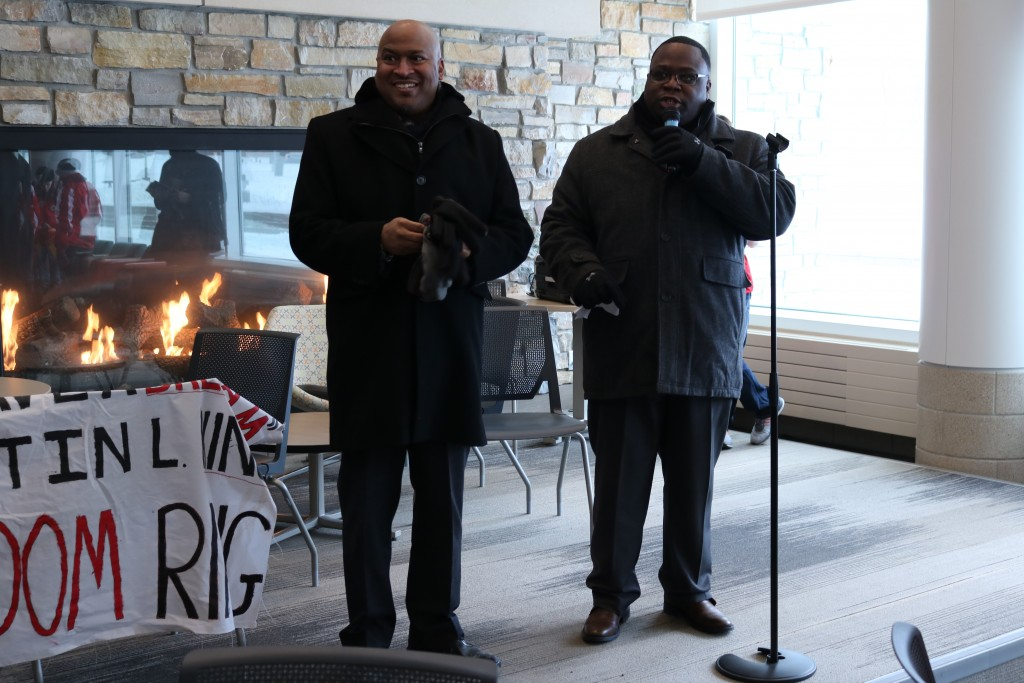 On Jan. 18, OMSS Director Matthew Chaney (left) and Assistant Director Michael Wade (right) concluded the annual MLK Freedom March at the University Center while participants partook in hot beverages.