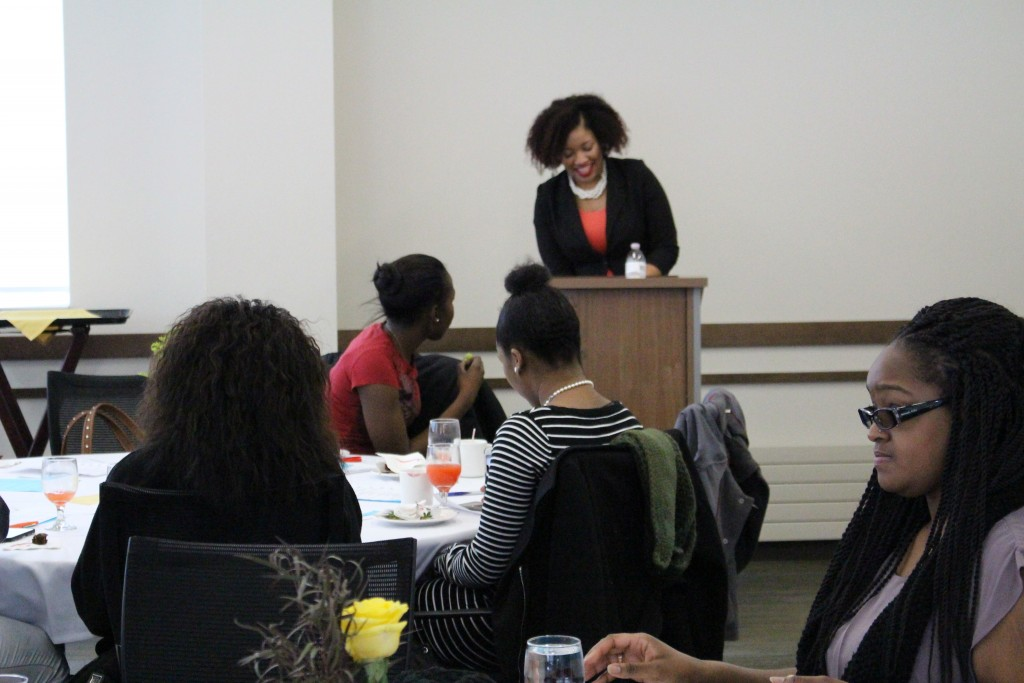 Speaker Jasmine Hall shared her stories about the value of the peer mentor program at the SCHOLAR luncheon on Jan. 19.
