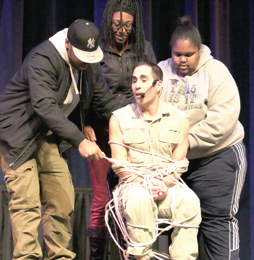 Through a combination of dangerous stunts, illusions and comedy, Brian Rudo captivated his audience in Williams Auditorium on Feb. 17.