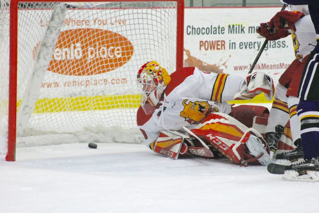 Ferris sophomore goaltender Darren Smith finished the night with 35 saves, but it wasn't enough to stave off the Minnesota State attack in the 3-2 loss.